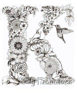 Letter K – Monogram Floral Art Print
