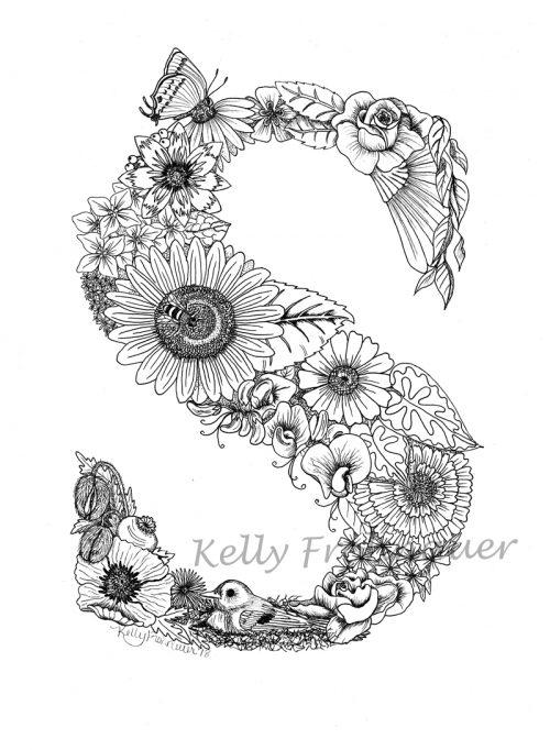 Letter S – Monogram Floral Art Print