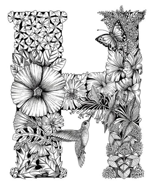Letter H – Monogram Floral Art Print