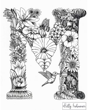 Letter M – Monogram Floral Art Print
