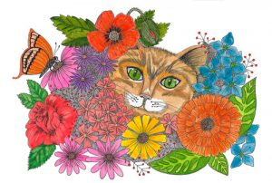 Flower Cat Greeting Card