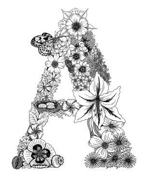 Letter A – Monogram Floral Art Print