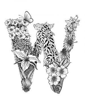 Letter W – Monogram Floral Art Print