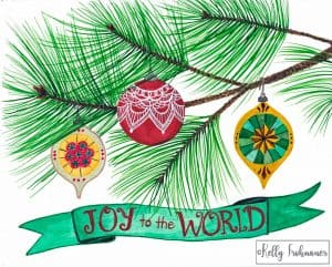 Joy To The World – Vintage Ornament Card
